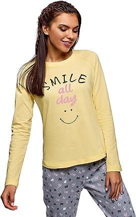 oodji Ultra Mujer Camiseta de Estar por Casa con Manga Raglán e Inscripción en el Pecho sin Etiqueta