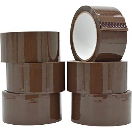2.0 Mil 2 Inches x 110 yards ProLine Heavy Duty Shipping Packing Box Tape Adhesive Premium Brown Carton Box Sealing Tape 6 Rolls