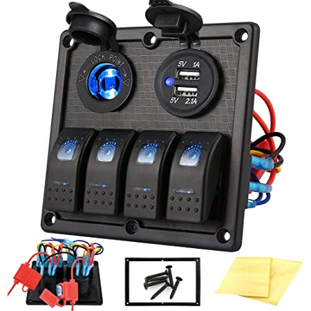 WATERWICH 6 Gang On//Off Rocker Switch Box 90Amp 12V SPST Rocker Switch Panel with LED Backlit for Ship Boat Yacht RV Camper Truck Car Vehicle 6-Gang