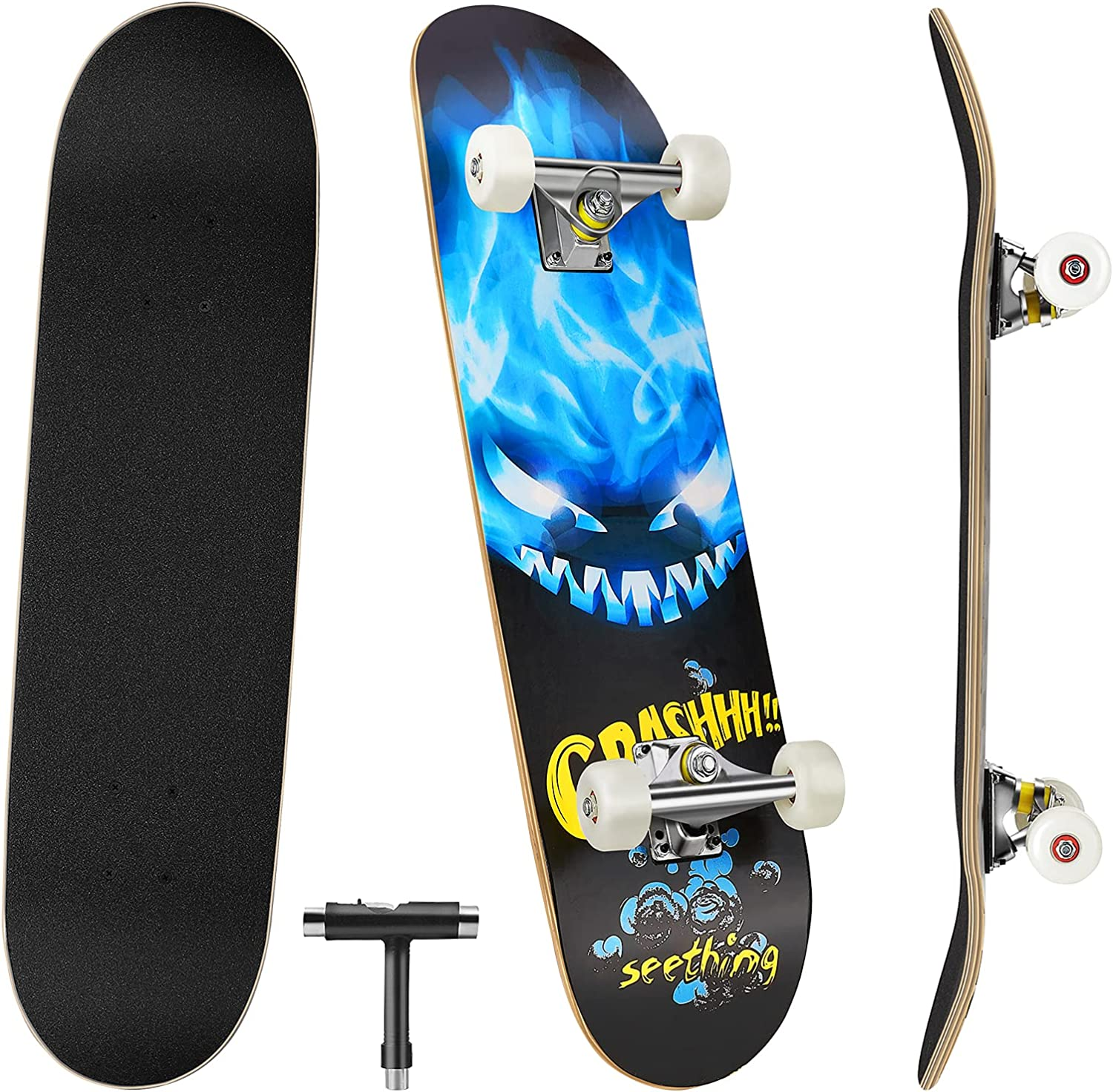 Skateboards for Beginners, 31'' x 8'' Complete Standard Skate Boards with 7 Layers Canadian Maple, Double Kick Concave Skateboards for Kids Youth Teens Man and Women : Sports & Outdoors