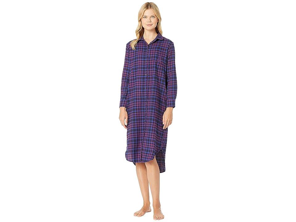 LAUREN Ralph Lauren Long Sleeve Ballet Length Sleepshirt (Purple Plaid) Women