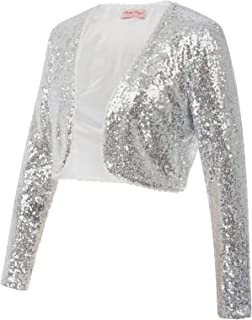 Belle Poque Women's Sequin Jacket Long Sleeve Open Front Glitter Cropped Blazer Bolero Shrug S-XXL