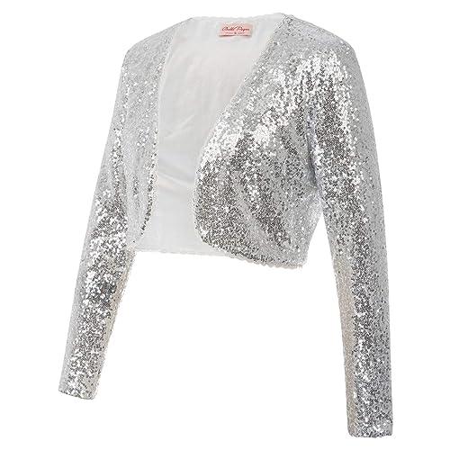 bc33a1969c Womens Sequin Jacket Open Front Glitter Cropped Bolero Shrug