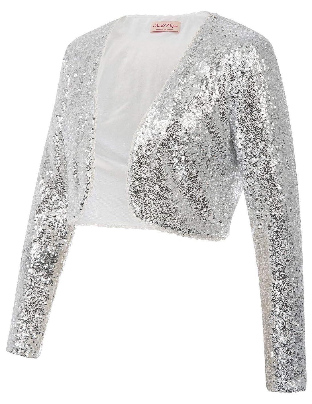 Womens Sequin Jacket Open Front Glitter Cropped Bolero Shrug zeqgyrswduw097