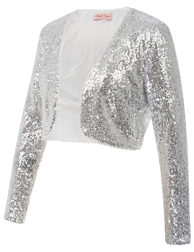 Womens Sequin Jacket Open Front Glitter Cropped Bolero Shrug