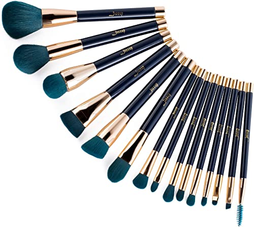 Jessup 15pcs Makeup Brushes Set Powder Foundation Eyeshadow Eyeliner Lip Contour Concealer Smudge Brush Tool Blue/Dar...