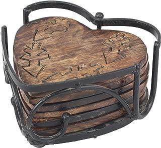 Stonebriar Farmhouse Set of 6 Wooden Heartshaped Coasters, 7 Piece