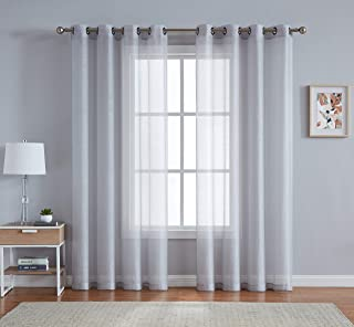 LinenZone - Grommet Semi-Sheer Curtains - 2 Pieces - Total Size 108 Inch Wide (54 Inch Each Panel) - 84 Inch Long Panels - Beautiful, Elegant, Natural Light Flow Material (54