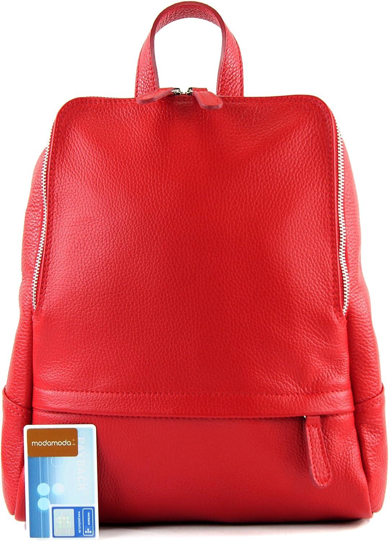 modamoda de - Ital Damenrucksack sac en cuir T138 Rouge