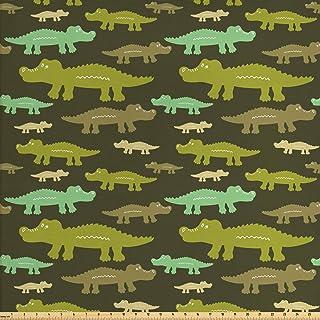 Lunarable Alligator Fabric by The Yard, Jungle Wilderness Theme with Crocodiles Savannah Animals Print, Decorative Fabric ...