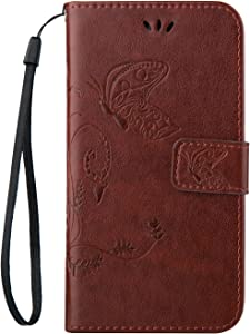 Ecoway Butterfly embossed pattern Leather Stand Function Protective Cases Covers with Card Slot Holder Wallet Book Design Detachable Hand Strap for Samsung Galaxy Core Prime G360F LTE brown
