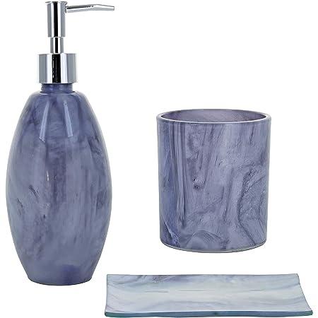 G Decor Ensemble de 3 accessoires de salle de bain en verre effet aquarelle gris Marvel avec distributeur de savon liquide ou de lotion et porte-brosse à dents, porte-savon
