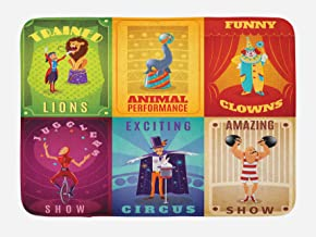 """Best Ambesonne Circus Bath Mat, Circus Characters with Trained Animals Strong Man Trapeze Artist Retro Show Design, Plush Bathroom Decor Mat with Non Slip Backing, 29.5"""" X 17.5"""", Purple Green Reviews"""