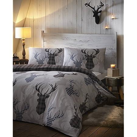 Grey Tartan Stag Deer Animal Check Reversible Duvet Quilt Cover Set Bed