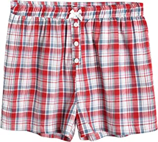 Latuza Women's Sleepwear Cotton Plaid Pajama Boxer Shorts