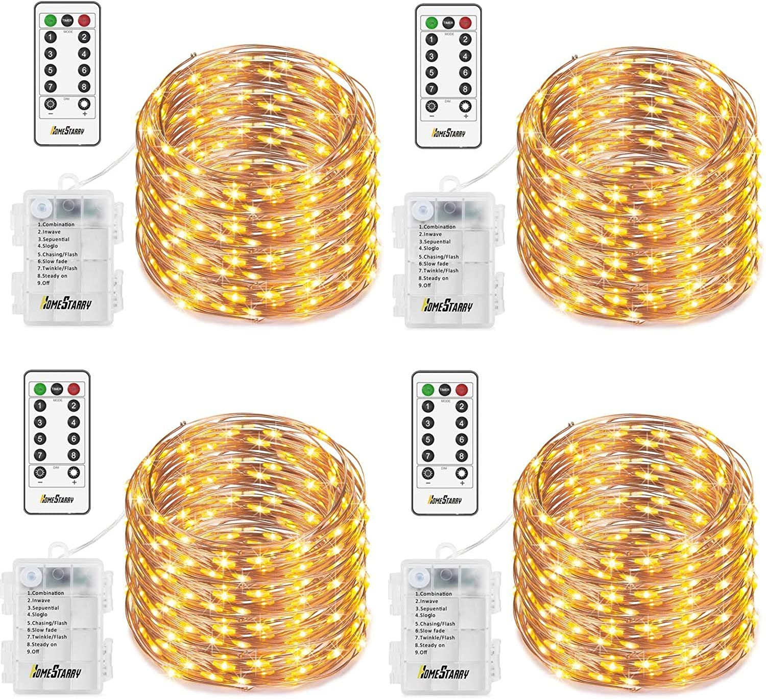 4 Pack Fairy String Lights Battery Operated Waterproof 8 Modes Remote Control 50 Led 16.4ft Indoor Lights Copper Wire Twinkle Lights for Bedroom Wedding Party Dinner Festival Decor (Warm White)