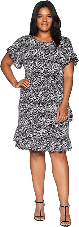 Plus Size Wavy Leo Ruffle Wrap Dress