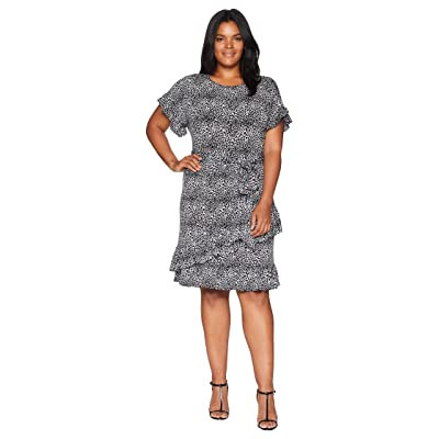 MICHAEL Michael Kors Plus Size Wavy Leo Ruffle Wrap Dress (Black/White) Women
