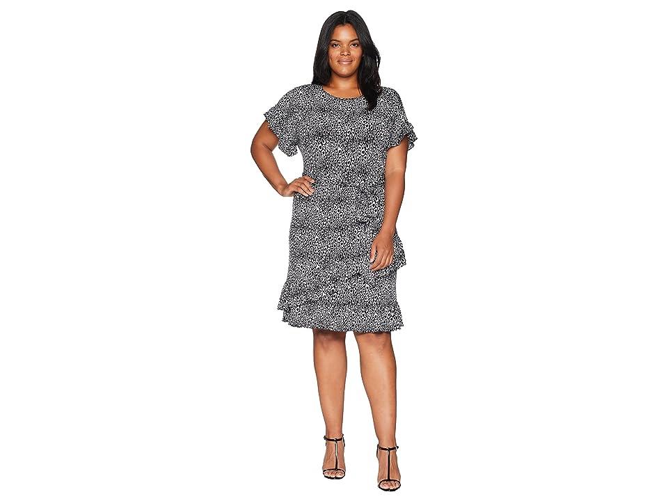 MICHAEL Michael Kors Plus Size Wavy Leo Ruffle Wrap Dress (Black/White) Women