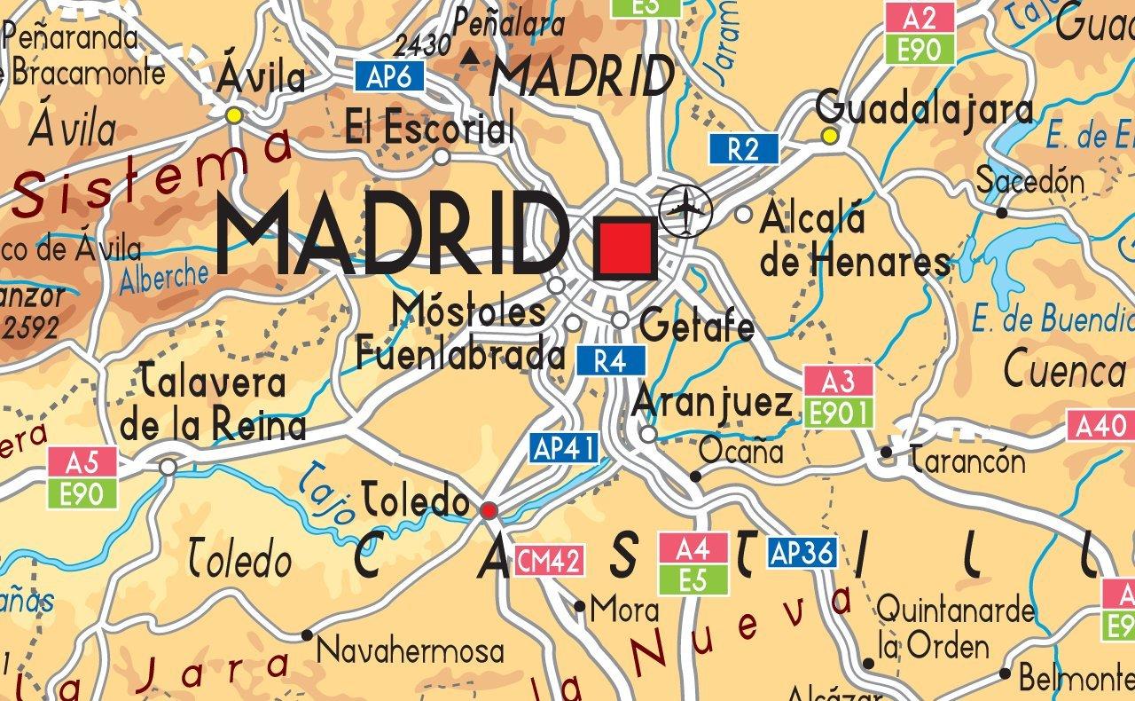 Mapa España Físico – Papel laminado – tamaño A0 – 84,1 x 118.9 cm ...