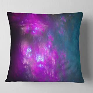 Designart Purple Blue Starry Fractal Sky' Abstract Throw Cushion Pillow Cover for Living Room, sofa 18 in. x 18 in