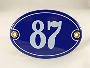 Emaille huisnummerbordje nr. 87, ovaal, blauw-wit Nr. 87 Blau-Weiß + Schrauben und Dübel