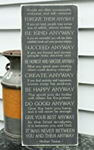 Mother Teresa Do It Anyway 12x30 Printed Engraved Shabby Chic Catholic Handpainted Rustic Wooden Sign