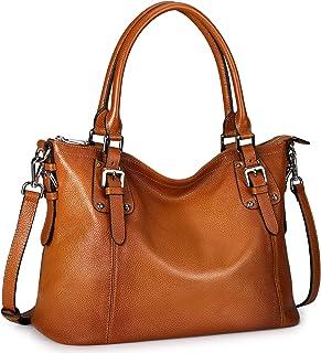 S-ZONE Women's Vintage Genuine Leather Handbag Work Tote Large Shoulder Purse Crossbody Bag