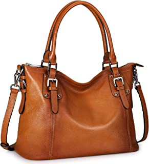 S-ZONE Women Genuine Leather Handbag Work Tote Shoulder Purse Crossbody Bag