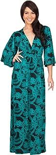 KOH KOH Womens Long Kimono Sleeves V-Neck Floral Print Flowy Summer Maxi Dress