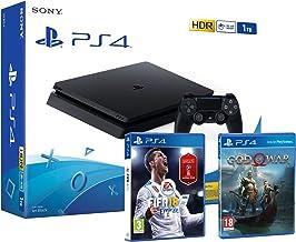 PS4 Slim 1Tb Negra Playstation 4 Consola Pack: FIFA 18 (Incl. Russia 2018) + God Of War