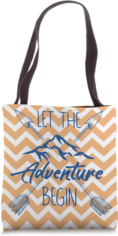 Let The Adventure Begin Mountains Arrows Chevron Tote Bag