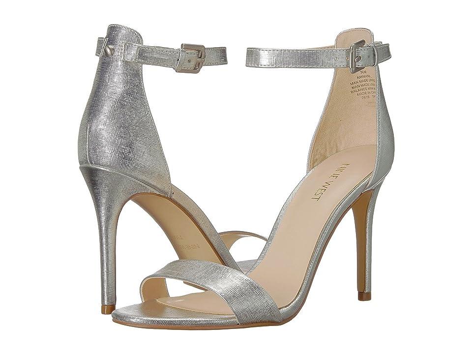Nine West Mana Stiletto Heel Sandal (Silver Etched Metallic PU) High Heels