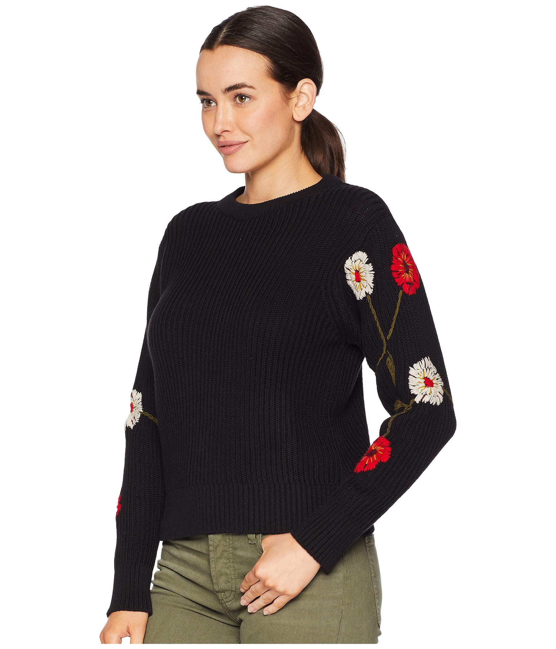 Embroidered Lucky Sweater Brand Multi Sleeve Pullover Black pFFO5Zwq