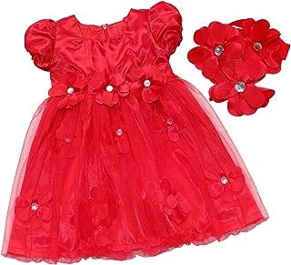 TiaoBug Baby Girls Red Petals Dress with Flower Headband Princess Wedding Party Pageant Dress