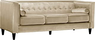 Meridian Furniture Taylor Collection Modern | Contemporary Beige Velvet Button Tufted, Tuxedo Sofa with Square Arms, Custom Solid Wood Legs, and Bolster Pillows