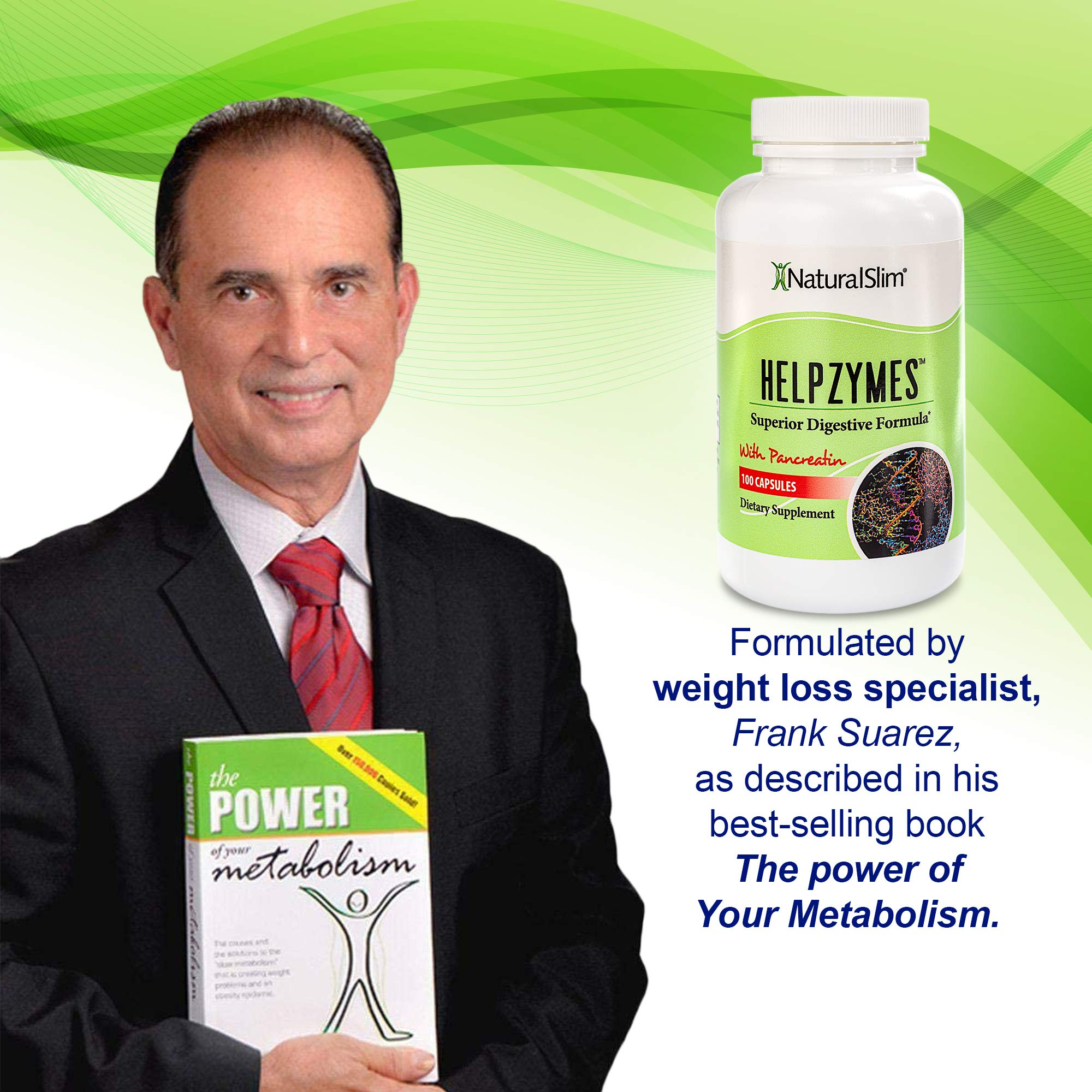 NaturalSlim Helpzymes - Premium Formula Digestive Enzymes for Ultra Digestion & Absorption w/ HLC Acid & Pancreatin - Metabolism Support Supplements - Gluten Free Constipation & Gas Relief - 100 Caps