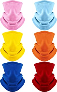 6 Pieces Neck Warmer for Kids Winter Fleece Neck Gaiter with Adjustable Rope Cycling Ski Tube Scarf Warm Face Covering for Aged 4-12 Boys and Girls