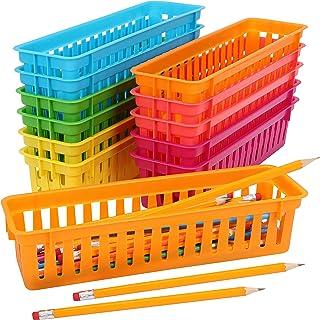 Belle Vous Panier Rangement Plastique pour Papeterie (Lot de 12) - Assortiment de Rangement Stylo Colorés - Rangement Cray...