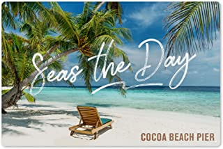 Cocoa Beach Pier, Florida - Seas The Day - Beach Loungers and Palms 91781 (6x9 Aluminum Wall Sign, Wall Decor Ready to Hang)
