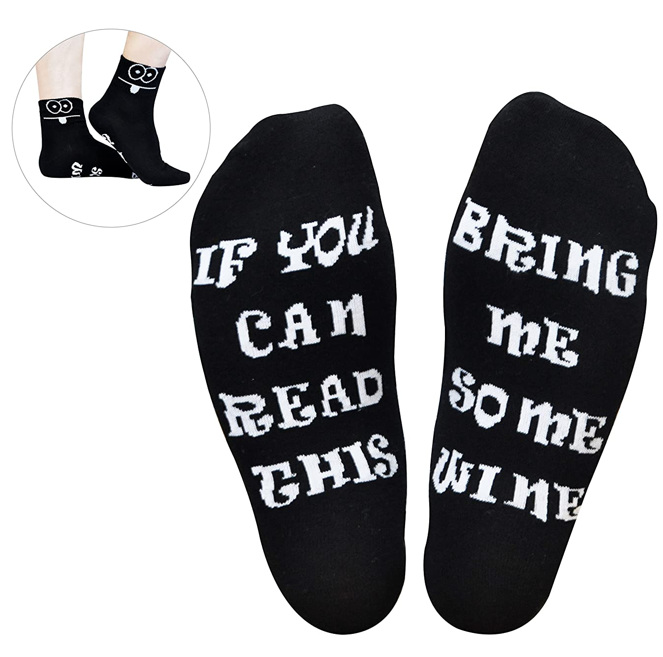 GoldWorld Novelty Cotton Wine Socks Birthday Gifts for Women/Mom/Men w/Funny Saying If You Can Read This Bring Me a Glass of Wine Sock for 30th/40th/50th/60th/70th Birthday Retirement Gifts
