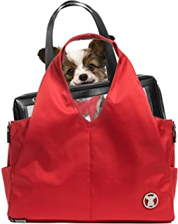 Miso Pup Sporty Red Interchangeable Airline Approved Pet Carrier Combo with Pockets for Small Dogs (Pet Carrier Base & Shell Tote)