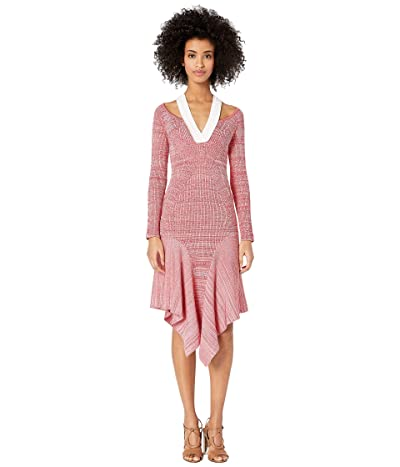 YIGAL AZROUEL Melange Knit Dress with Cut Outs (Crimson Multi) Women