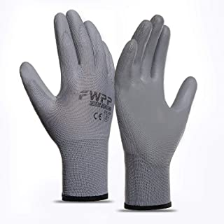 FWPP GP003003XL6 Gray PU Coated Work Gloves Construction Gloves Pack of 6Pairs Extra Large