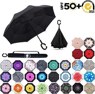 Inverted Umbrella,Double Layer Reverse Rain&Wind Teflon Repellent Umbrella for Car and Outdoor Use, Windproof UPF 60+ Big Straight Umbrella with C-Shaped Handl