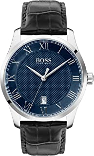 Hugo Boss Black Men'S Blue Dial Black Leather Watch - 1513741