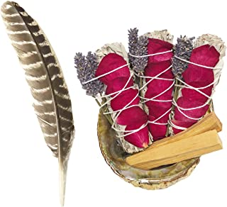 TOMOKO White Sage Smudge Kit - 3 White Sage with Rose and Lavender, 2 Palo Santo, Abalone Shell & Feather! Healing, Purifying, Meditating, Incense & Cleansing