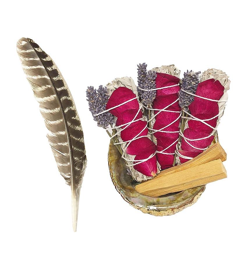 万一に備えて悔い改め配当ホワイトセージスマッジキット – ホワイトセージ6本、パロサント2本、フェザー、キャンドル2本、手作りフクロウバスケット (大型1個とミニ2個) 癒し、浄化、瞑想、香り、浄化。