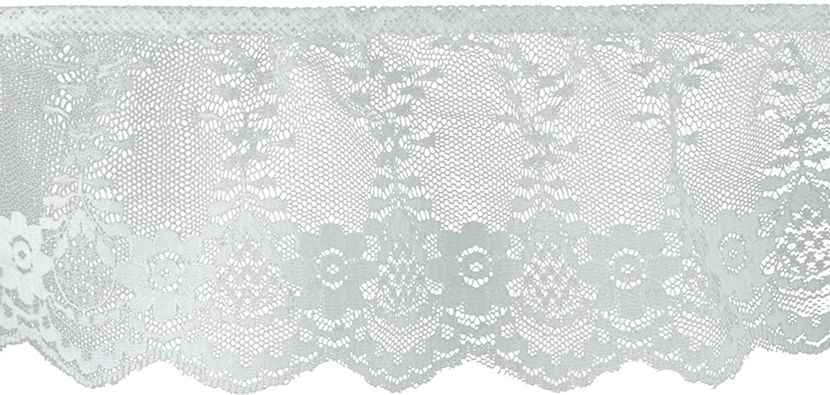 Decorative Trimmings White Ruffled Fancy Lace Trim 3-1/8