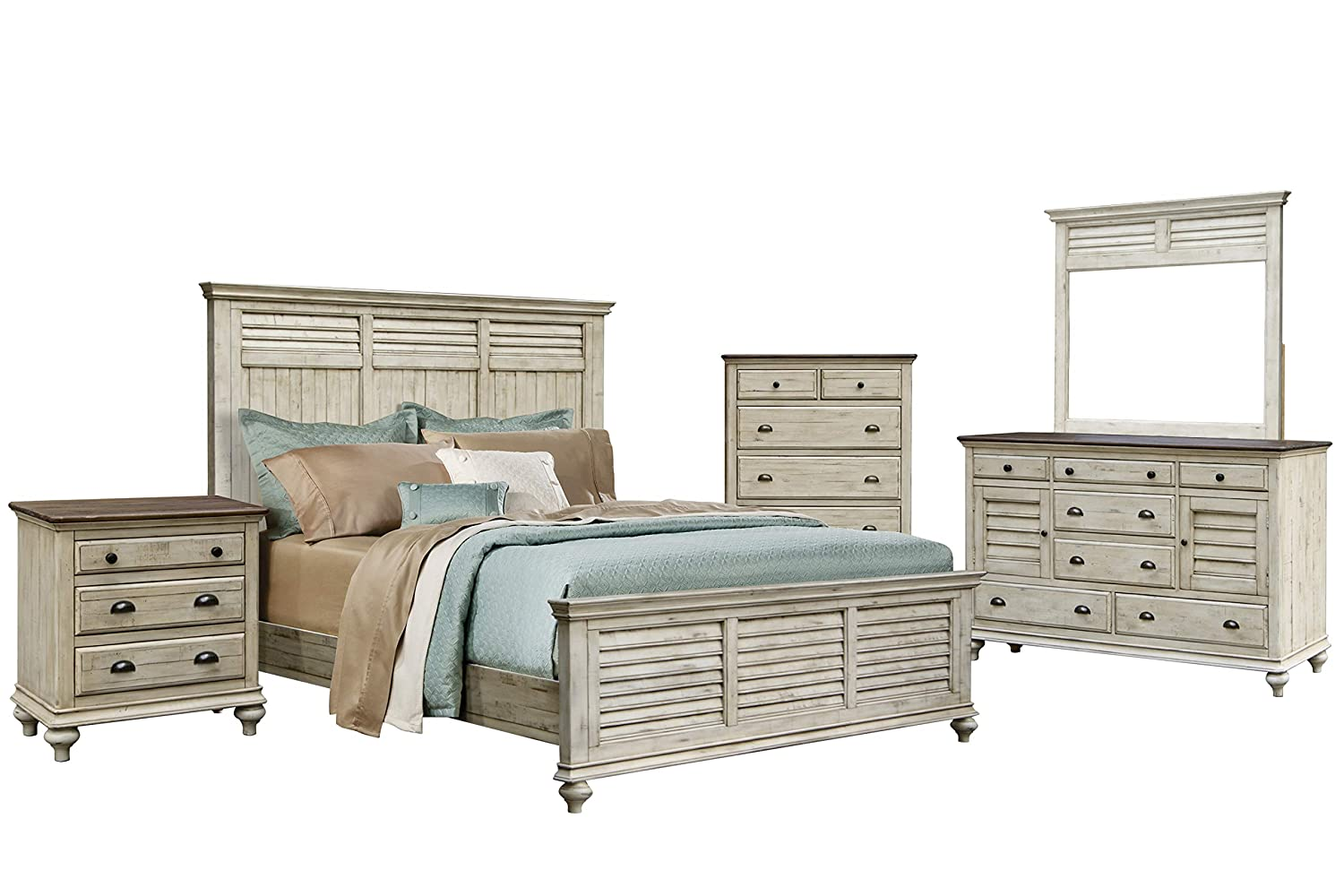 Sunset Trading Shades Award-winning store of Sand Antique white Natural Bedroom Set famous